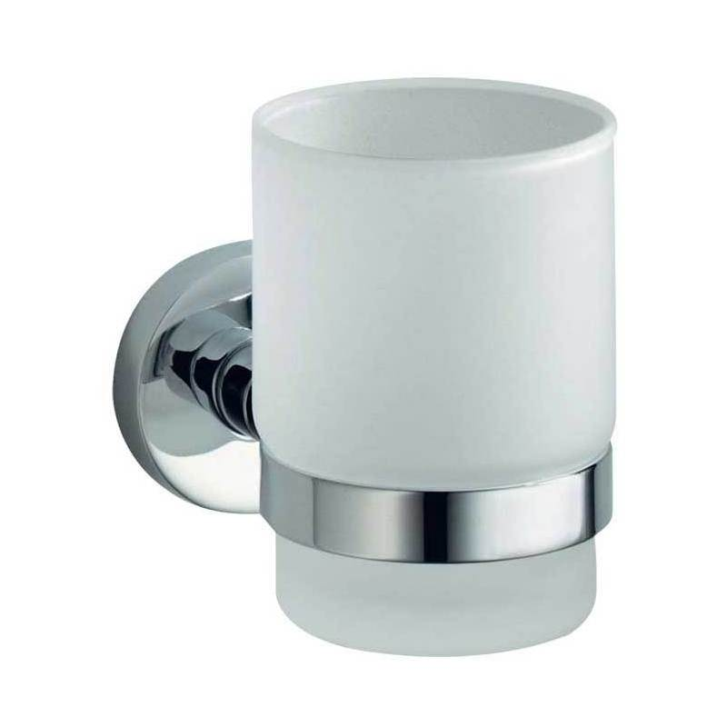 Frosted Glass Tumbler & Holder - Frosted Glass & Polished Chrome Base