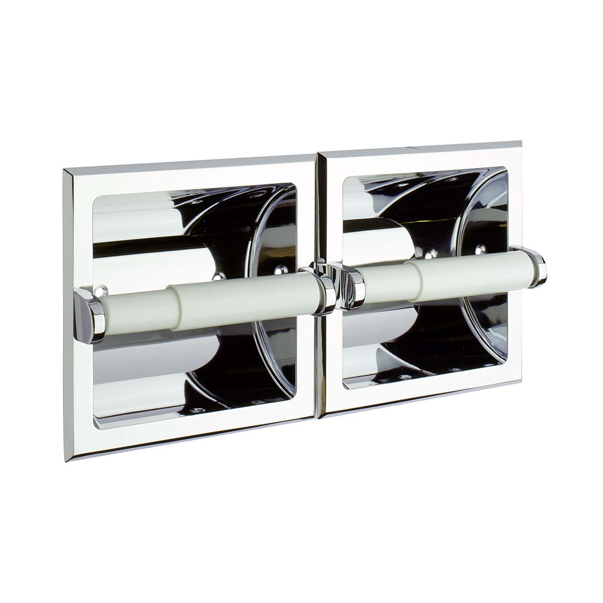 Twin Recessed Paper Roll Holder - Polished Brass