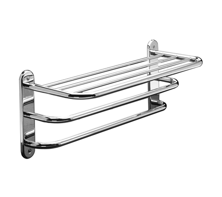 "24"" Towel Shelf with Double Bar / Semi-Concealed Mount - Polished Chrome"