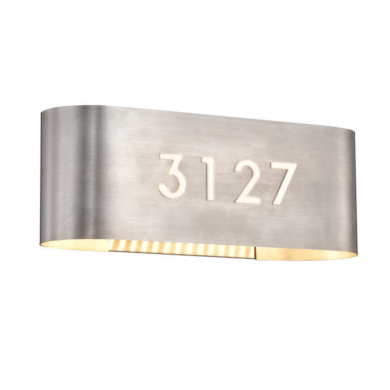 Address Lights Fixture with Room Numbers is Custom Made for Each Room Satin Nickel