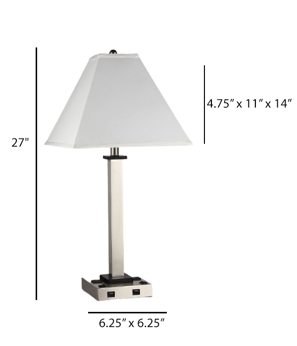 Double Table Lamp with USB Port