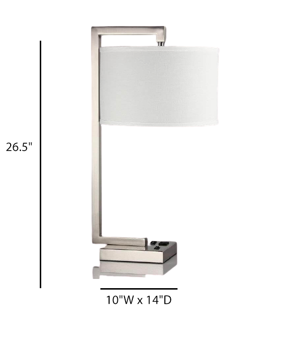 One Incandescent Table Lamp With USB Port & Receptacle