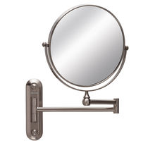 Circular Wall Mount Mirror, Brushed Stainless Steel