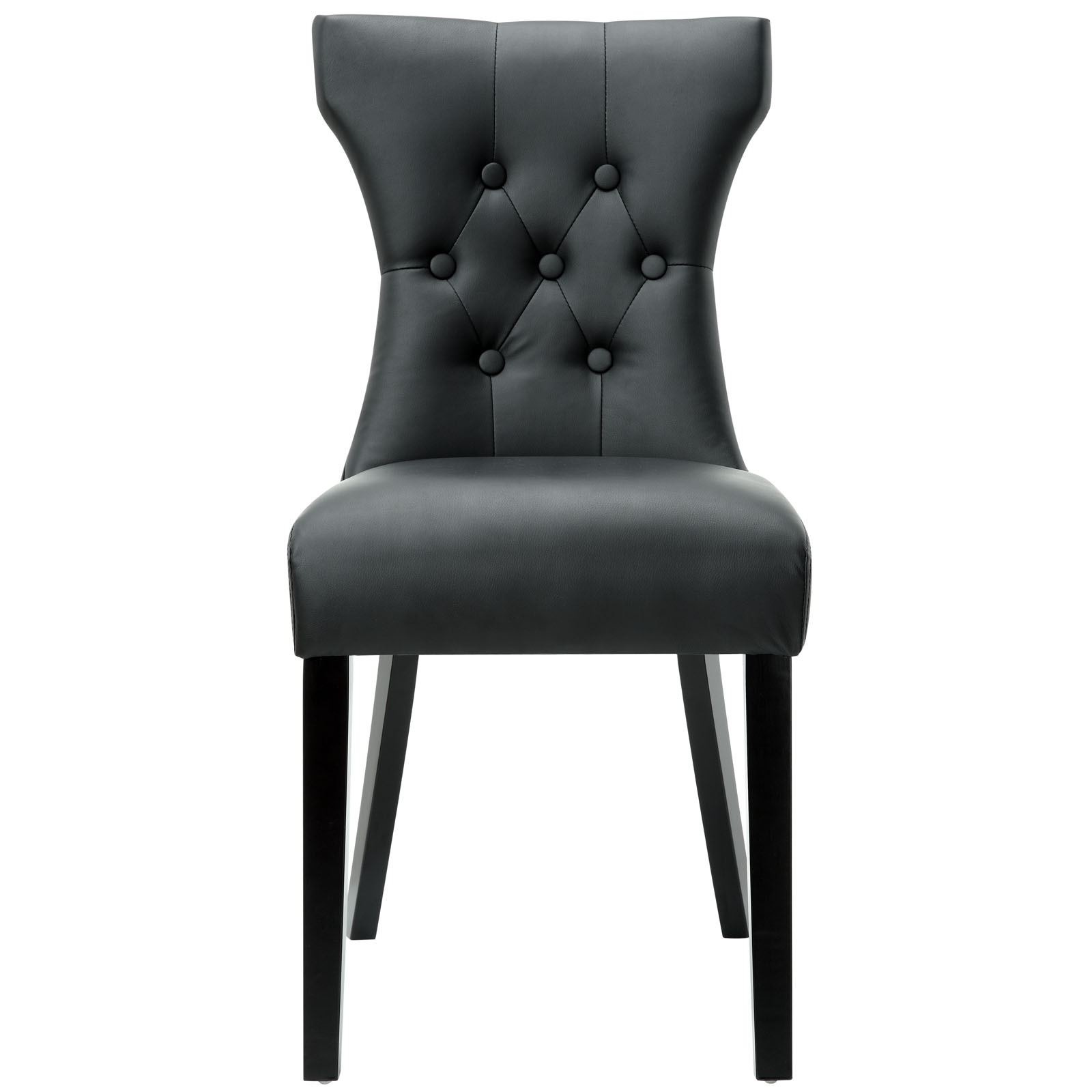 Silhouette Dining Vinyl Side Chair in Black