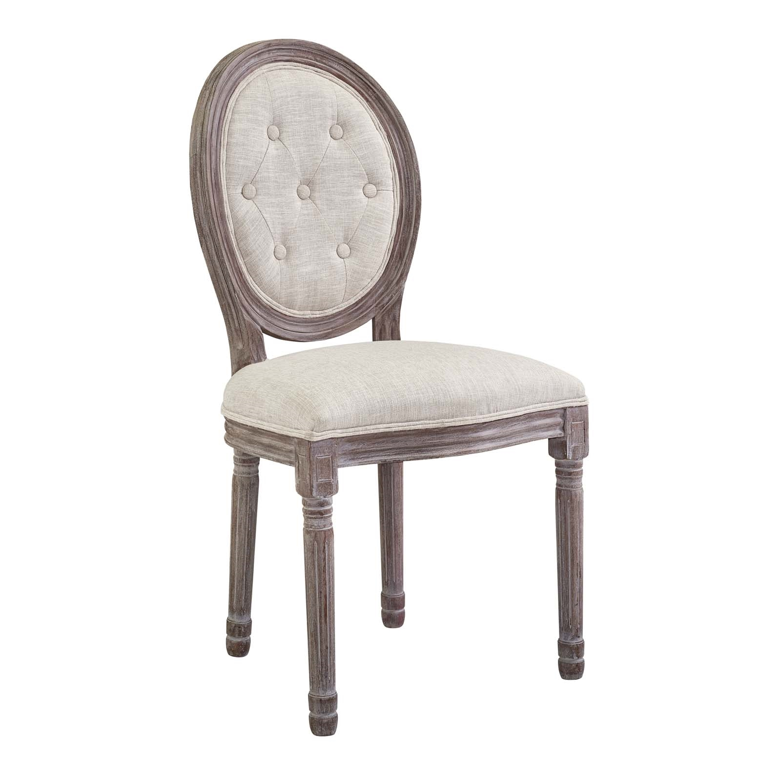 Arise Vintage French Upholstered Fabric Dining Side Chair in Beige