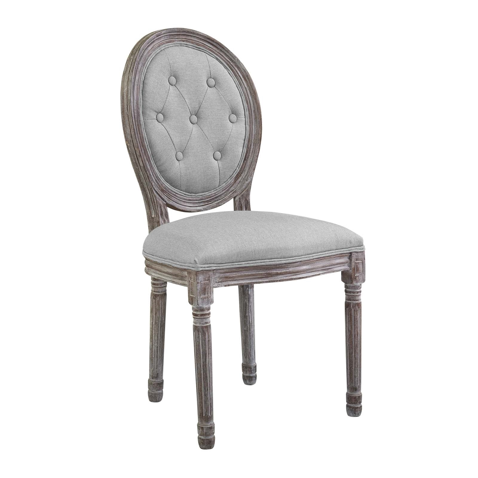 Arise Vintage French Upholstered Fabric Dining Side Chair in Light Gray