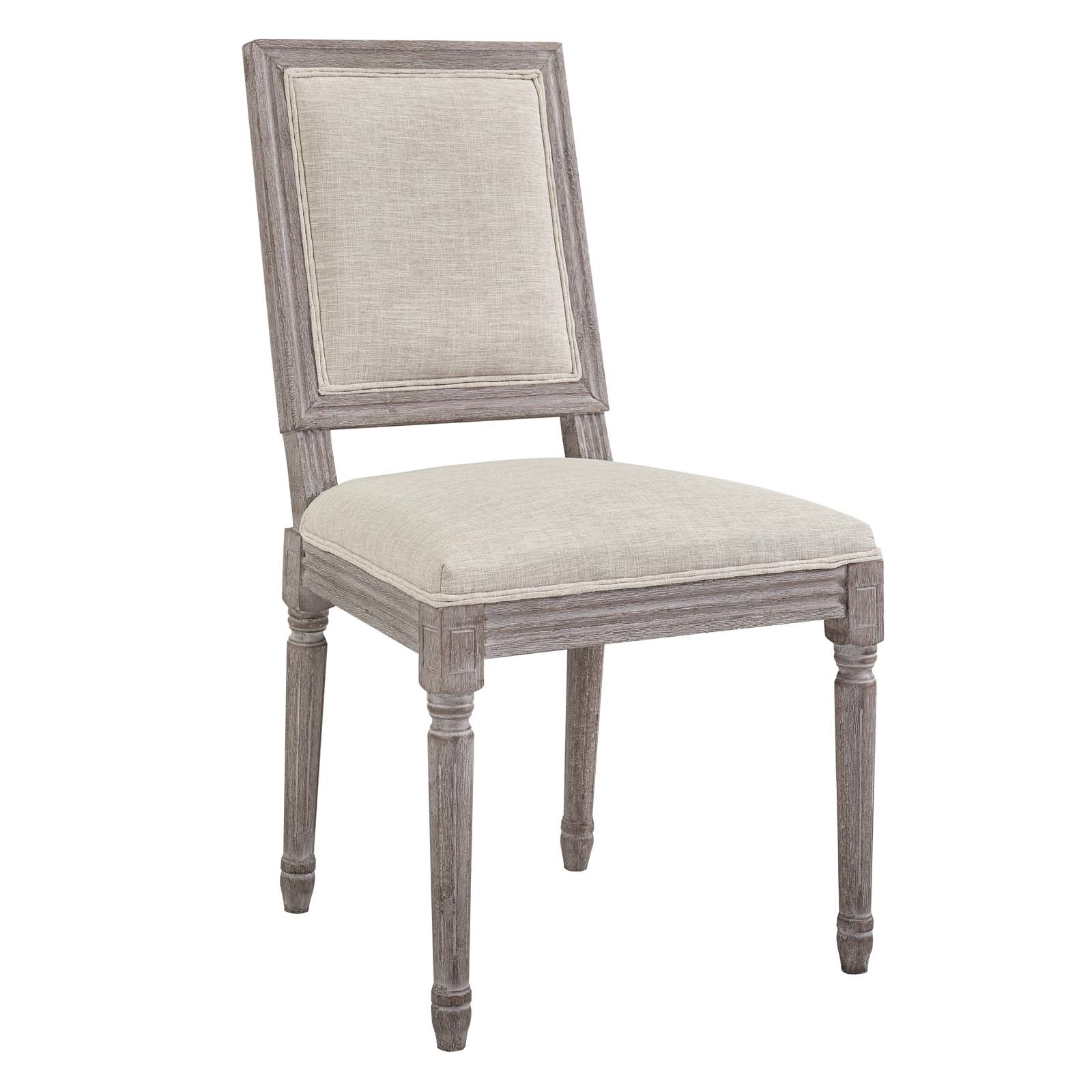 Court Vintage French Upholstered Fabric Dining Side Chair in Beige