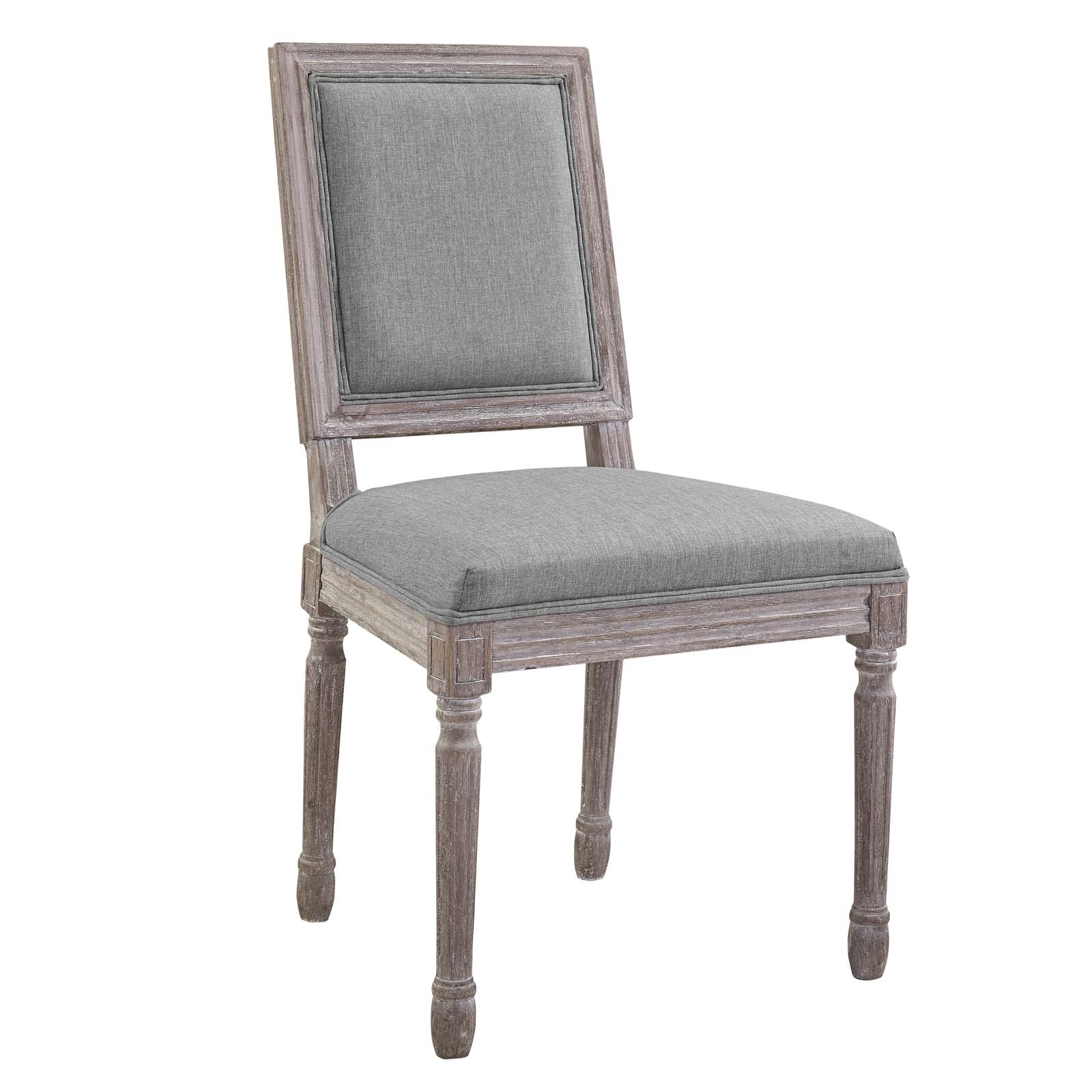 Court Vintage French Upholstered Fabric Dining Side Chair in Light Gray