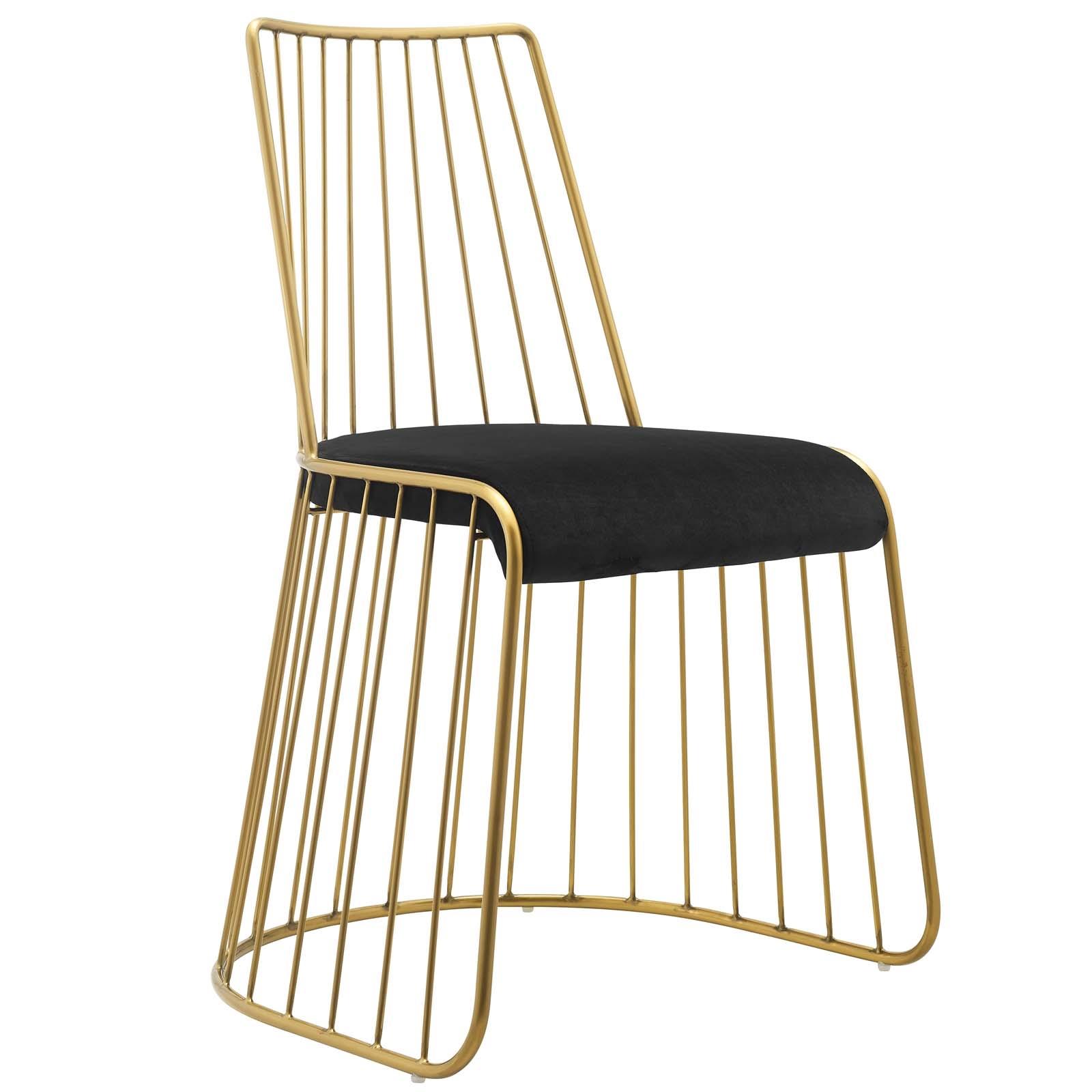 Rivulet Gold Stainless Steel Performance Velvet Dining Chair in Gold Black