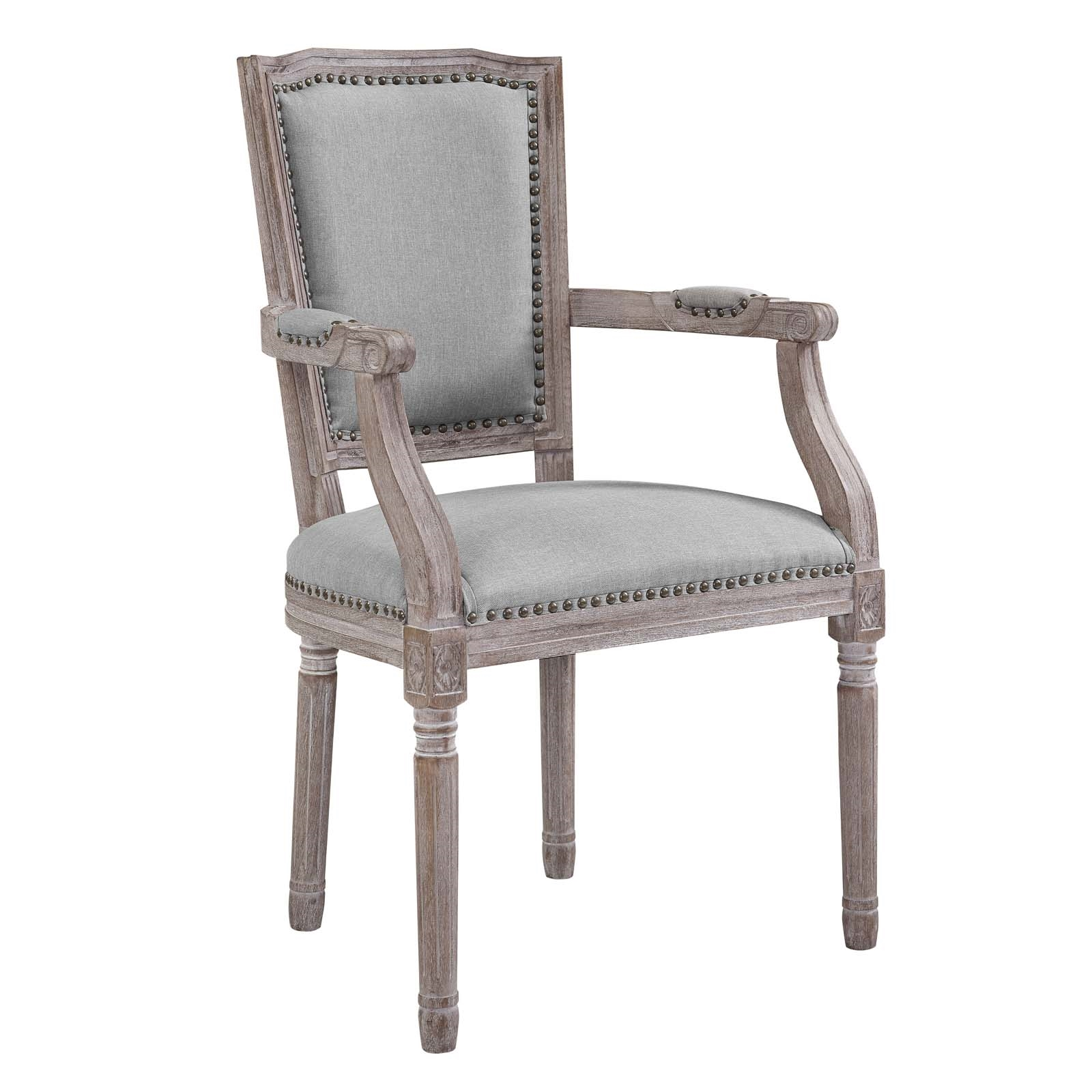 Penchant Vintage French Upholstered Fabric Dining Armchair in Light Gray