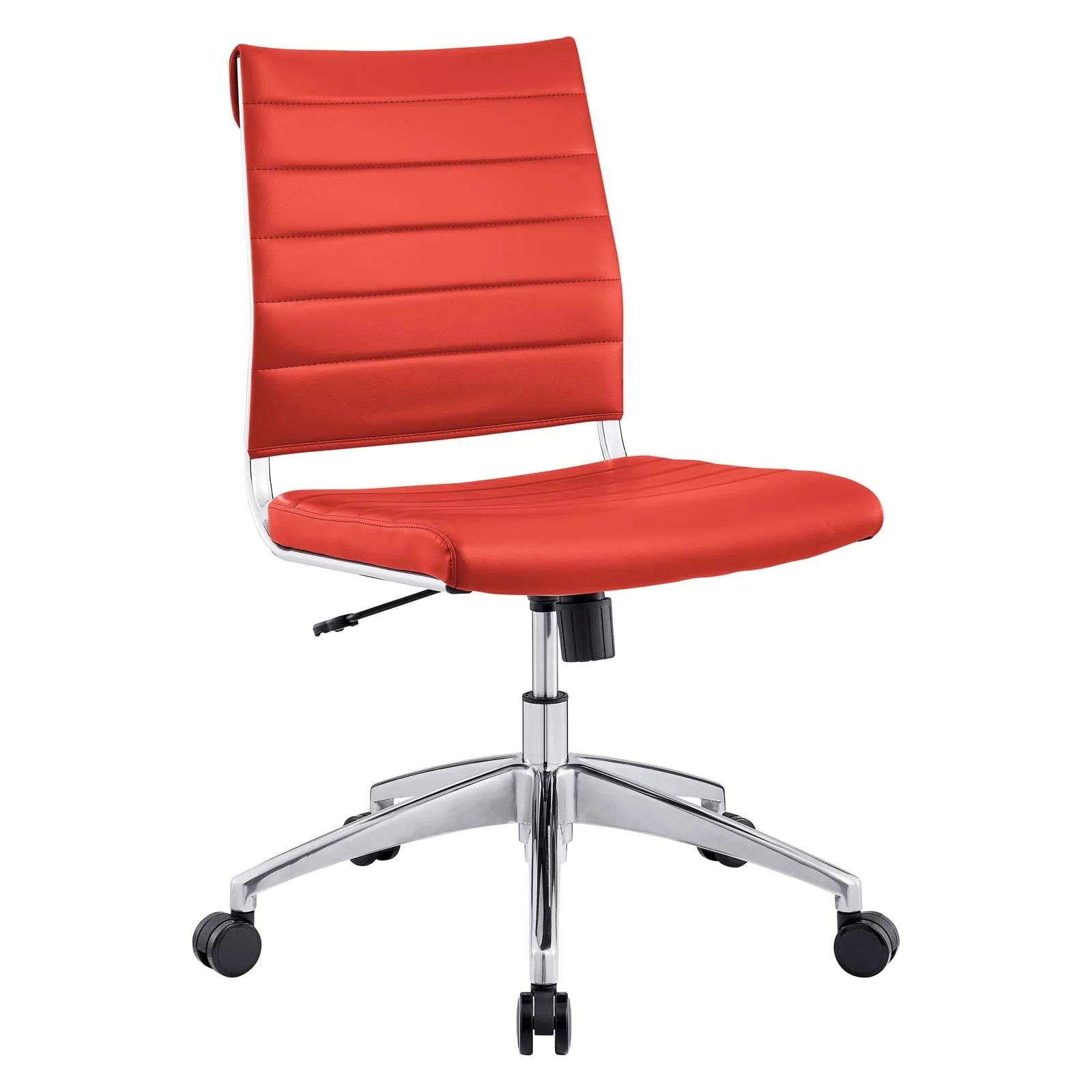 Armless Mid Back Office Chair in Red