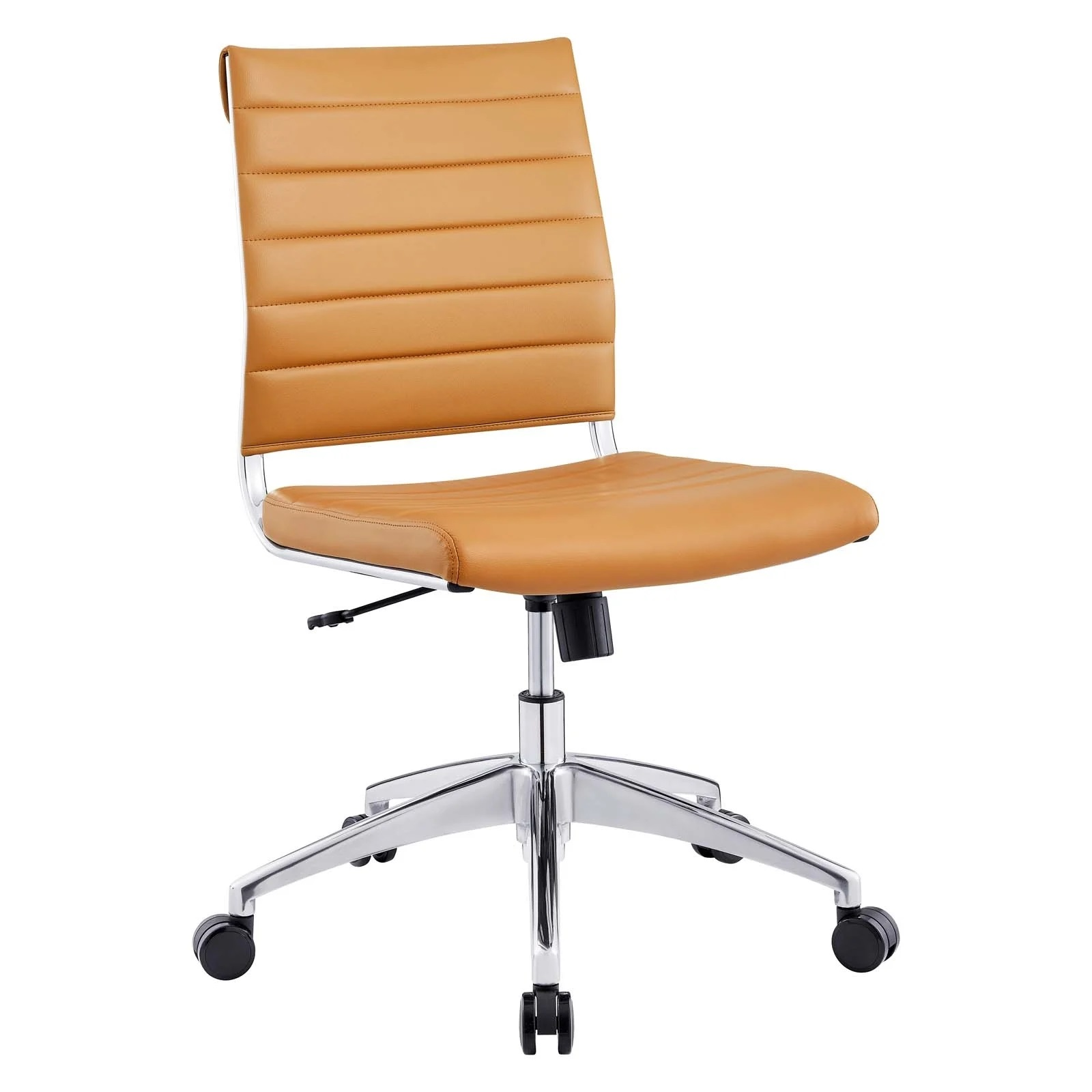 Armless Mid Back Office Chair in Tan