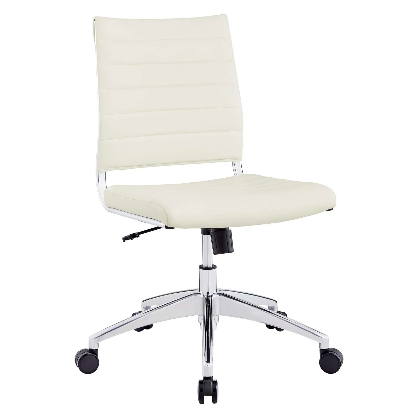 Armless Mid Back Office Chair in White