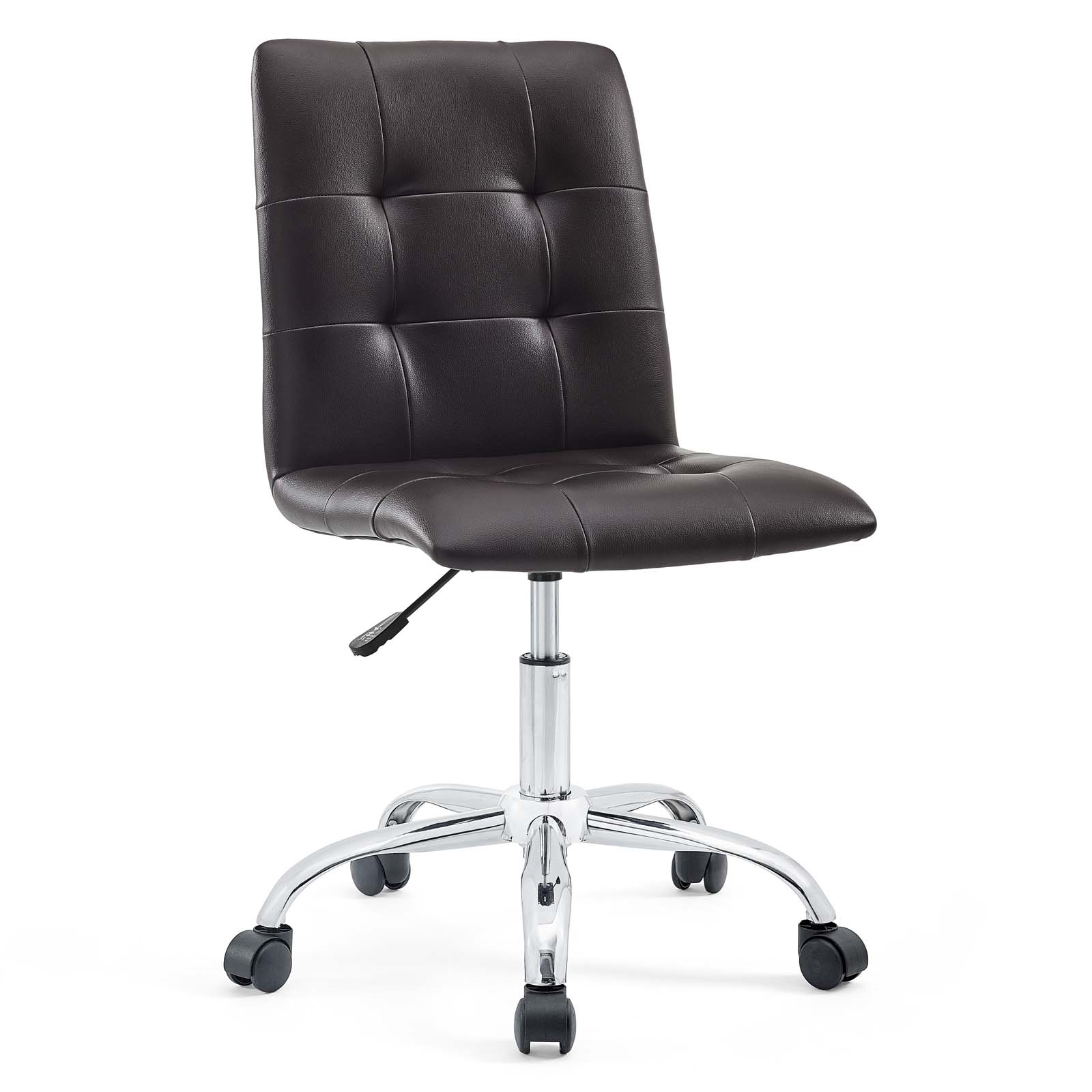 Armless Mid Back Office Chair in Brown