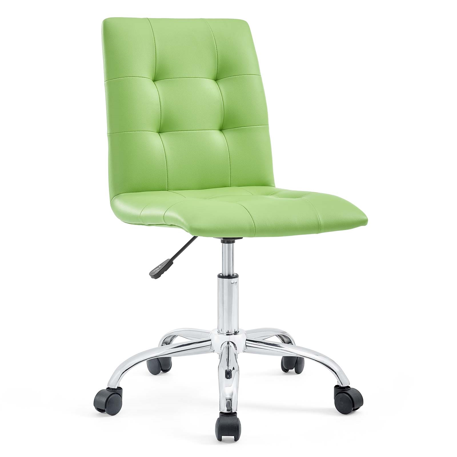 Armless Mid Back Office Chair in Bright Green