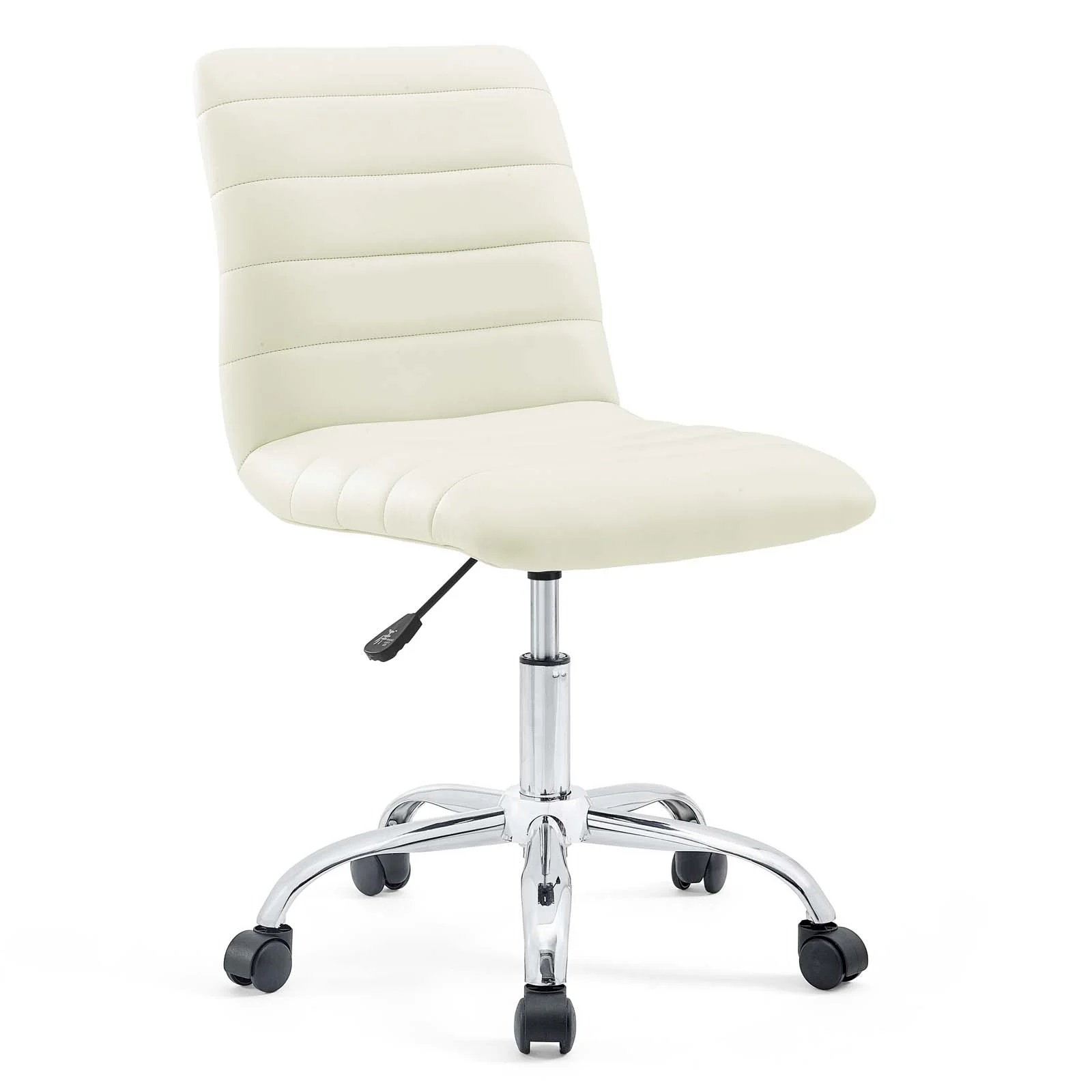 Armless Mid Back Vinyl Office Chair in White
