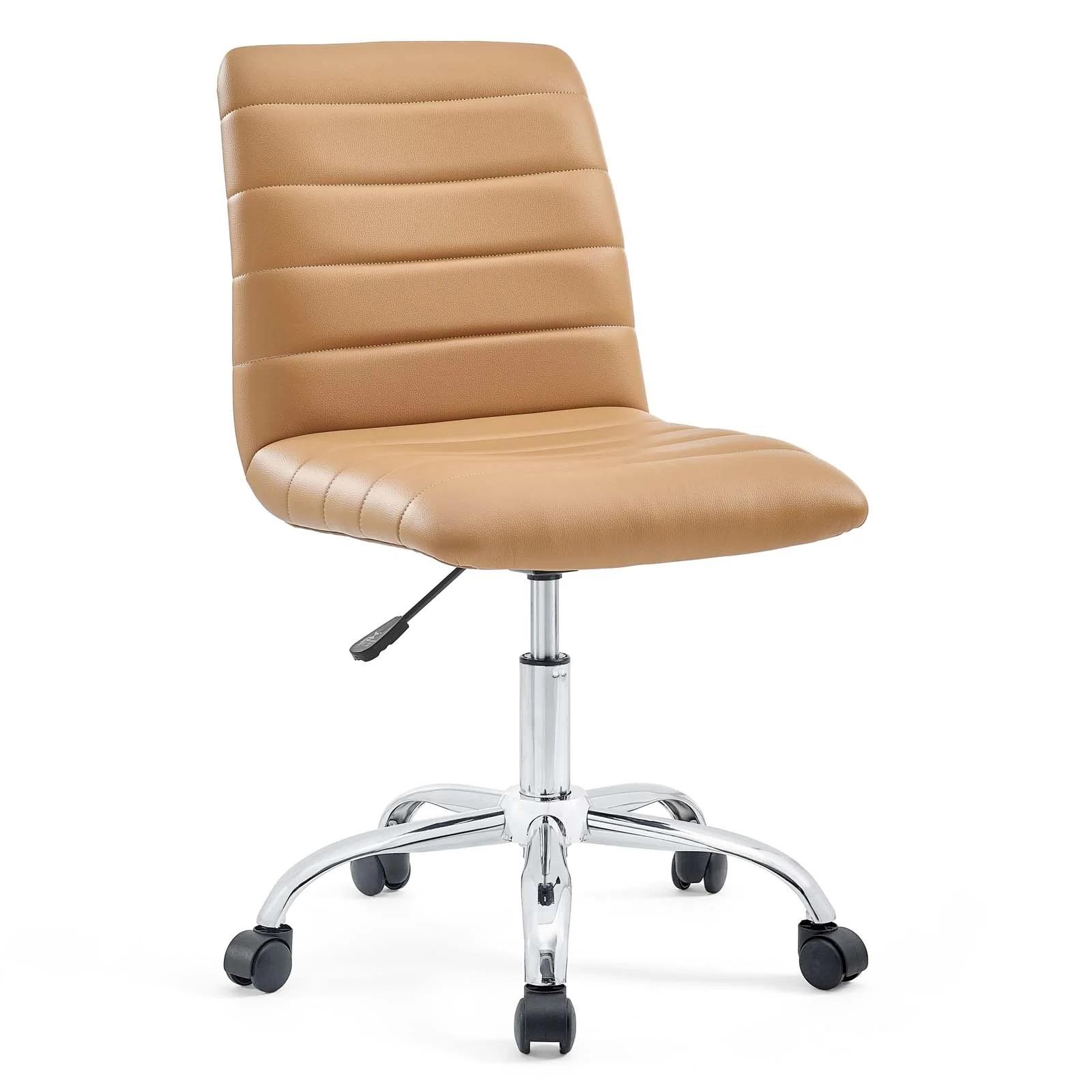 Armless Mid Back Vinyl Office Chair in Tan