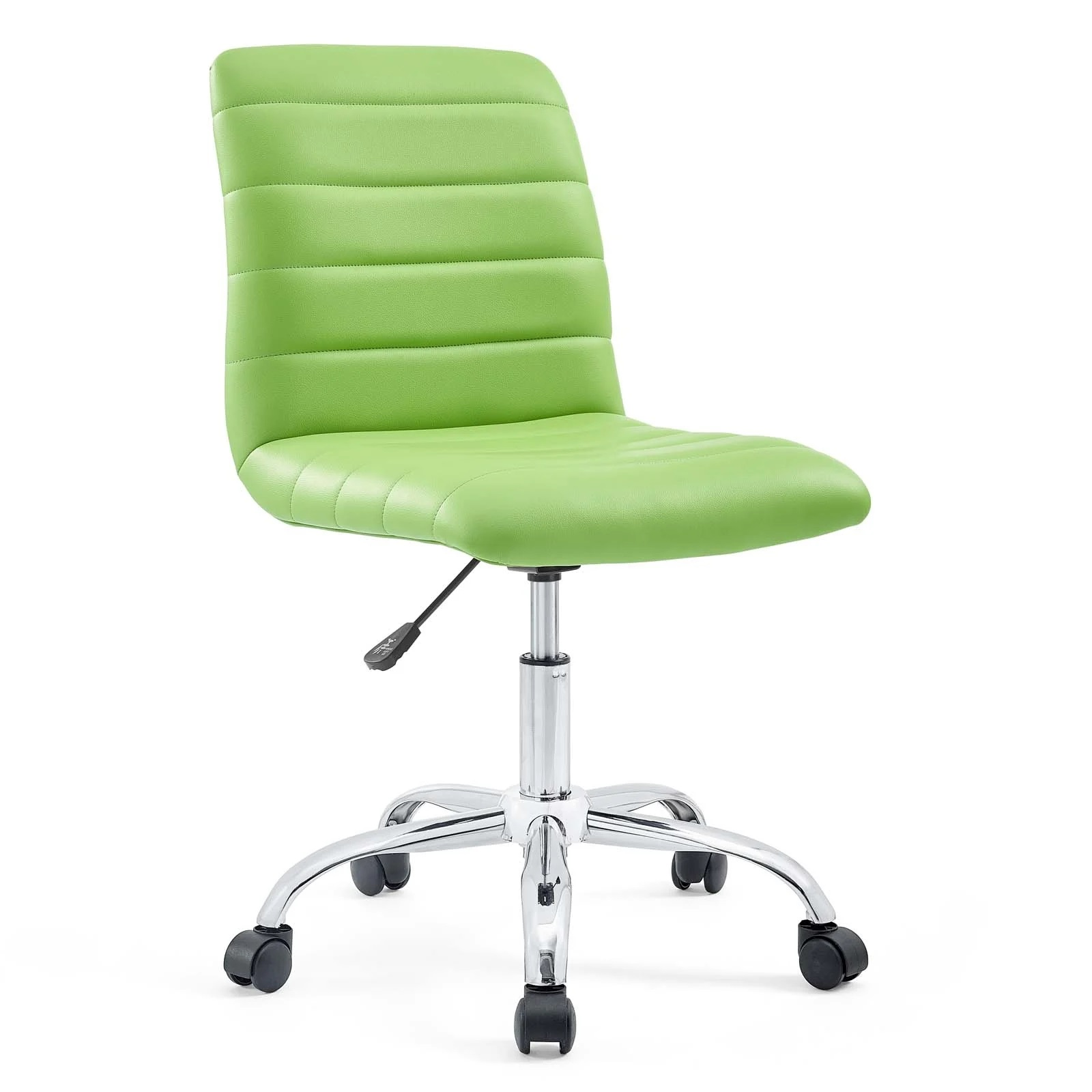 Armless Mid Back Vinyl Office Chair in Bright Green