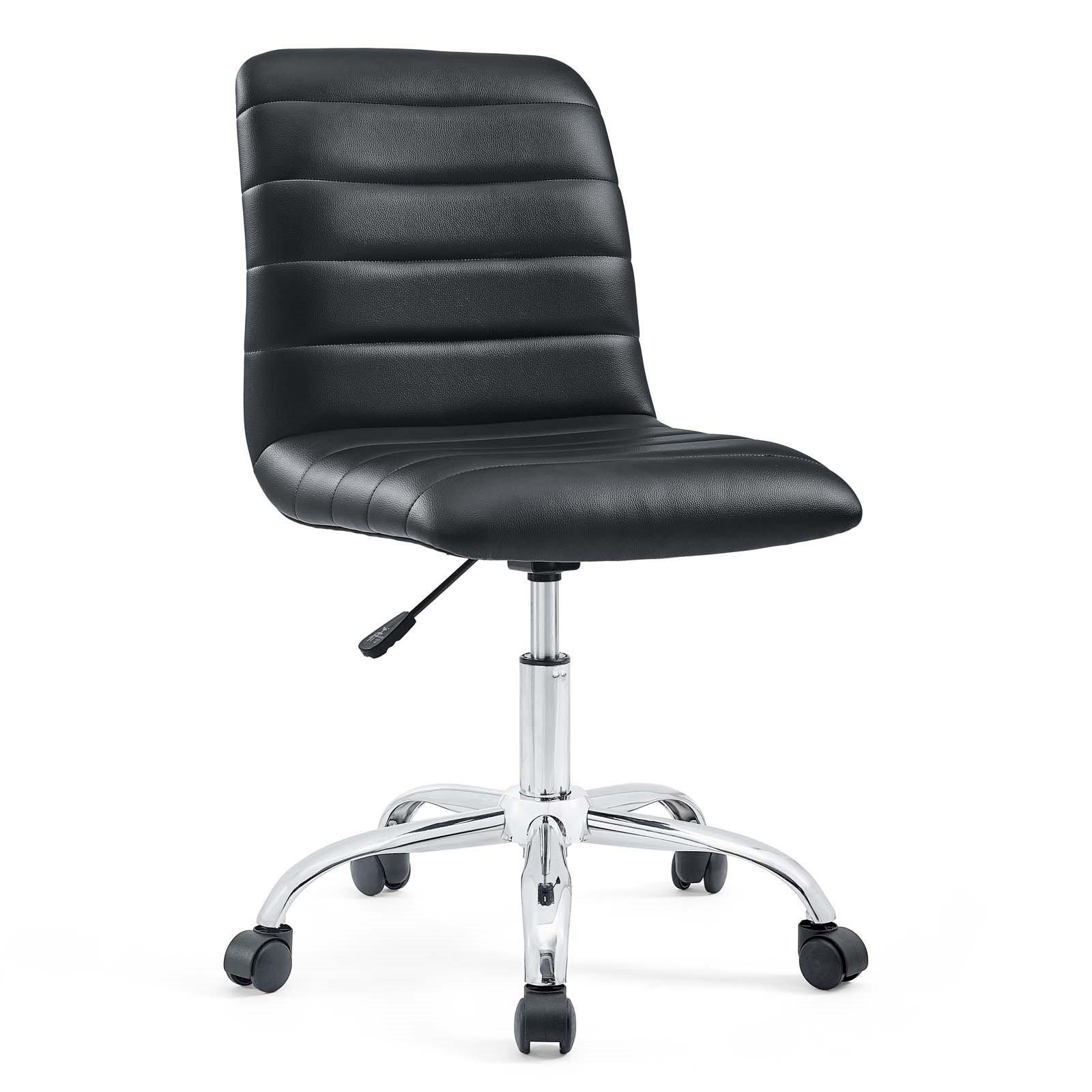 Armless Mid Back Vinyl Office Chair in Black