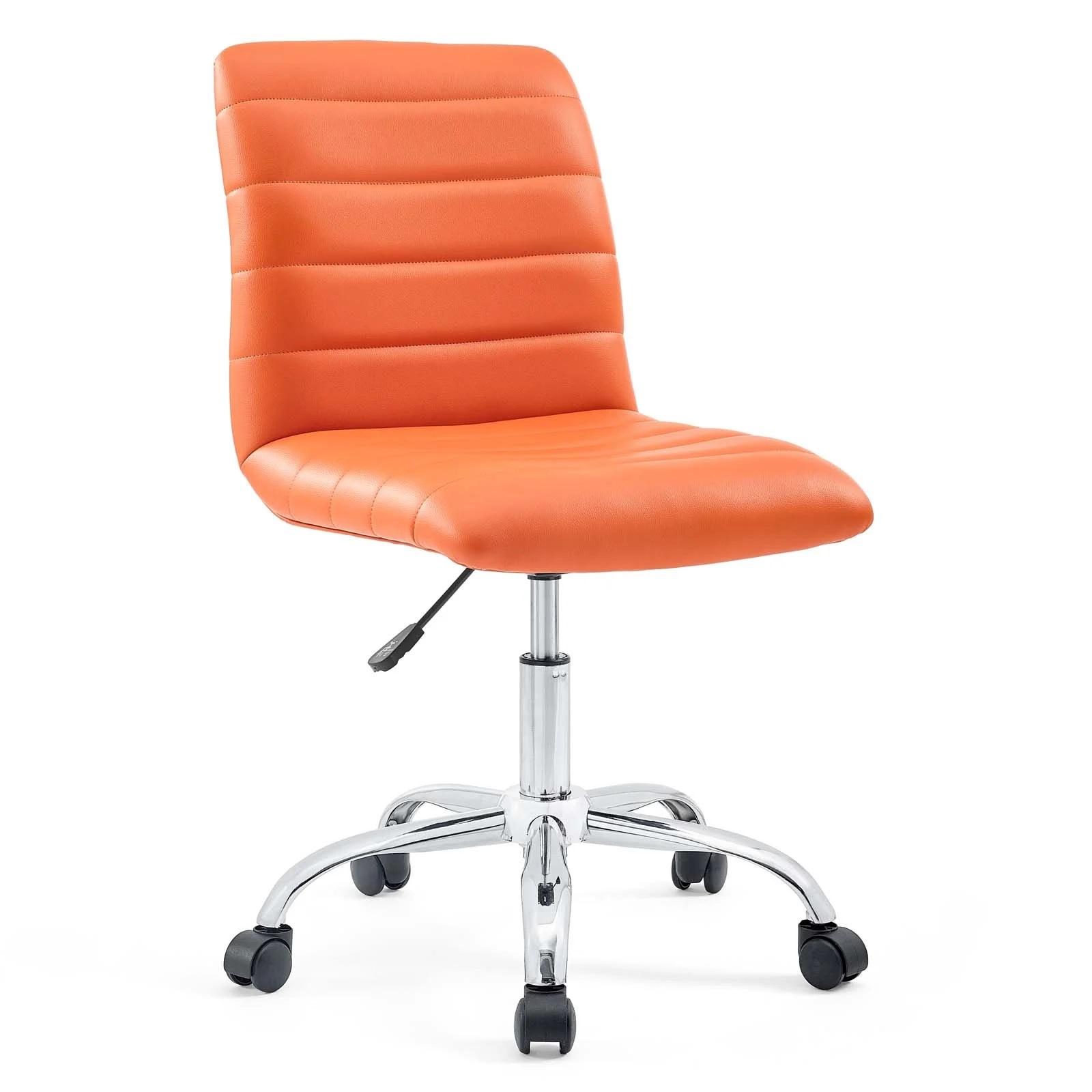 Armless Mid Back Vinyl Office Chair in Orange