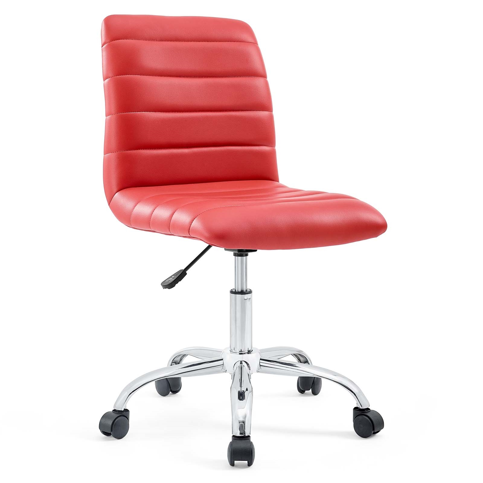 Armless Mid Back Vinyl Office Chair in Red