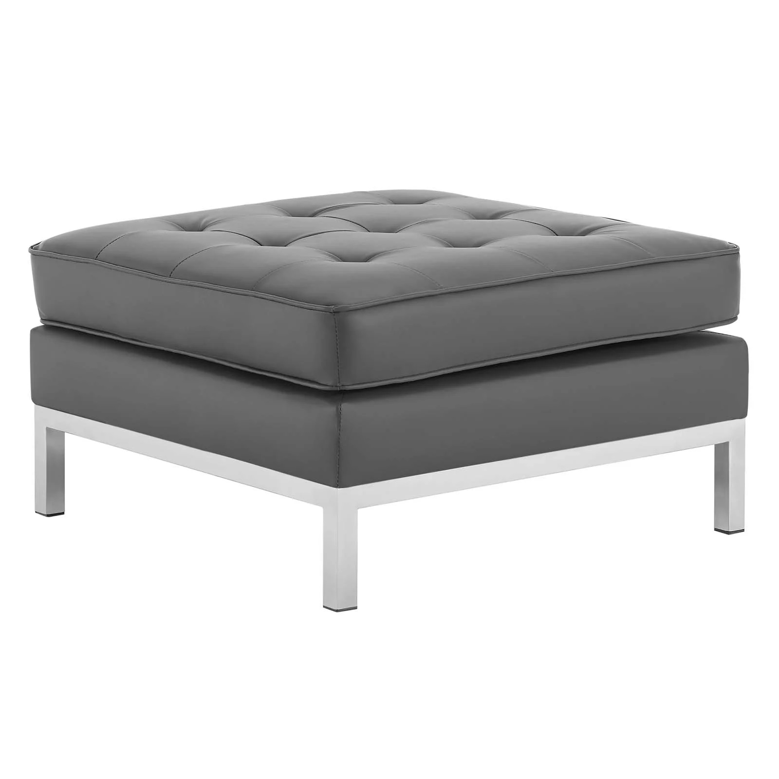 Loft Tufted Upholstered Faux Leather Ottoman in Silver Gray