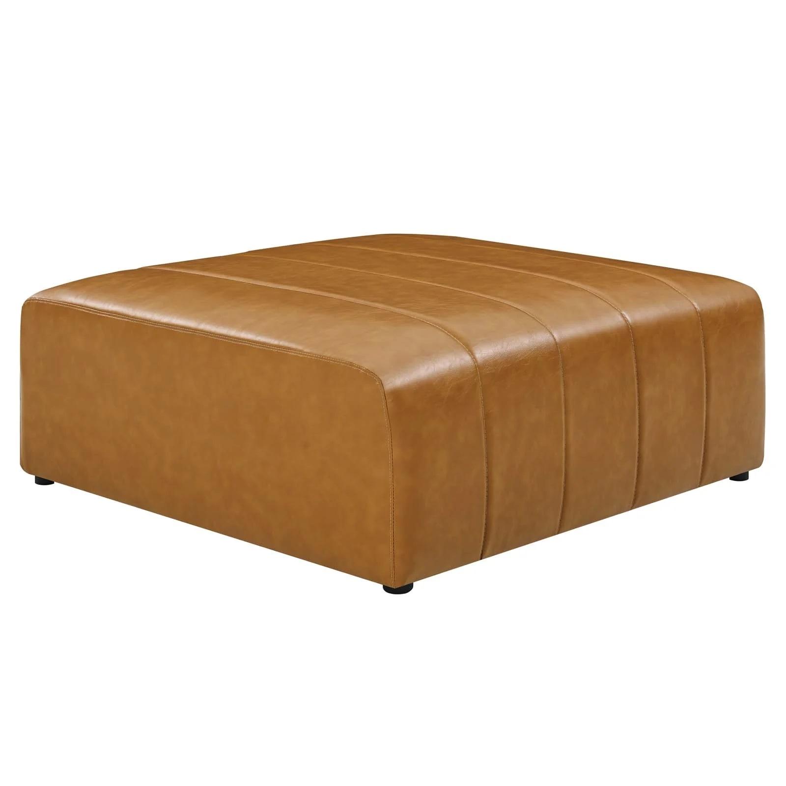 Bartlett Vegan Leather Ottoman in Tan