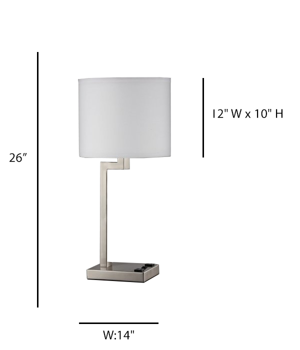 Single Table Lamp with 1 Elec/USB