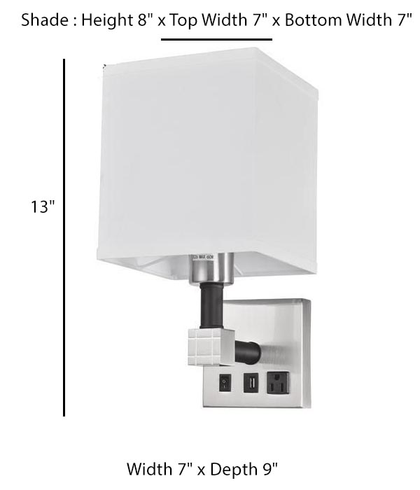 Wall Lamp with 1 Elec/1 USB