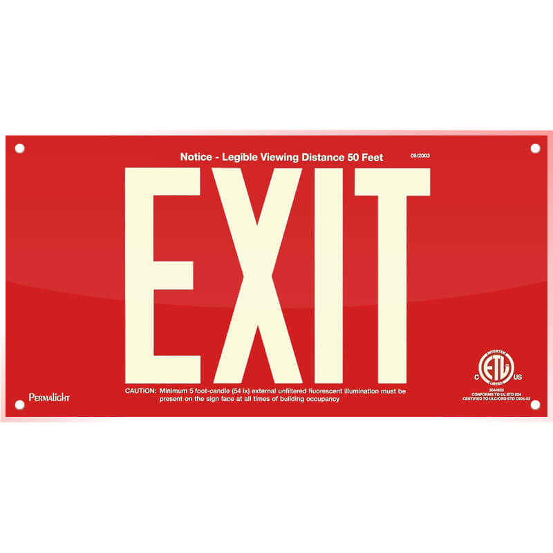 Red Acrylic EXIT Sign, 7 inch letters