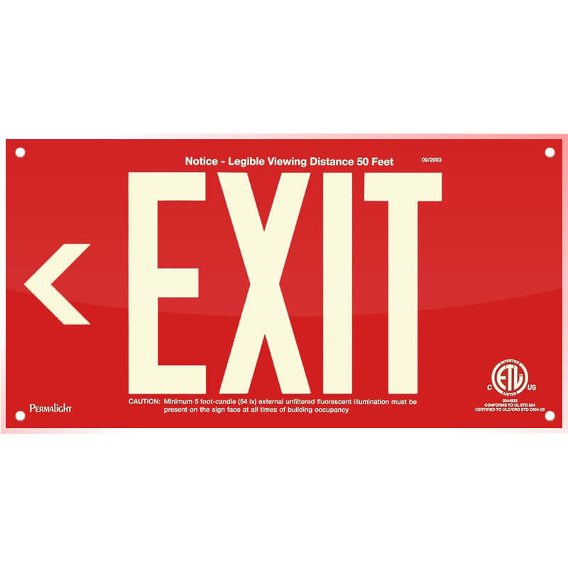 Red Acrylic EXIT Sign (Arrow left), 7 inch letters