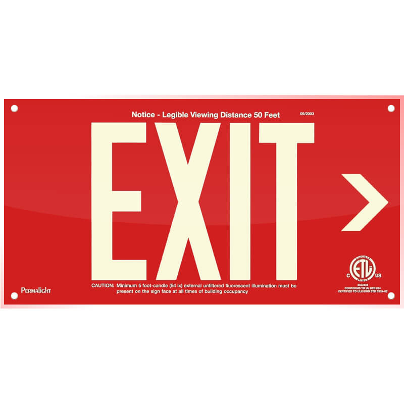 Red Acrylic EXIT Sign (Arrow right), 7 inch letters