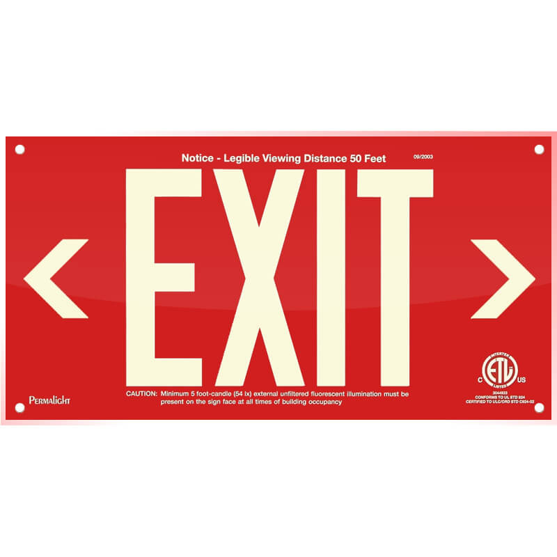 Red Acrylic EXIT Sign (left and right Arrows), 7 inch letters