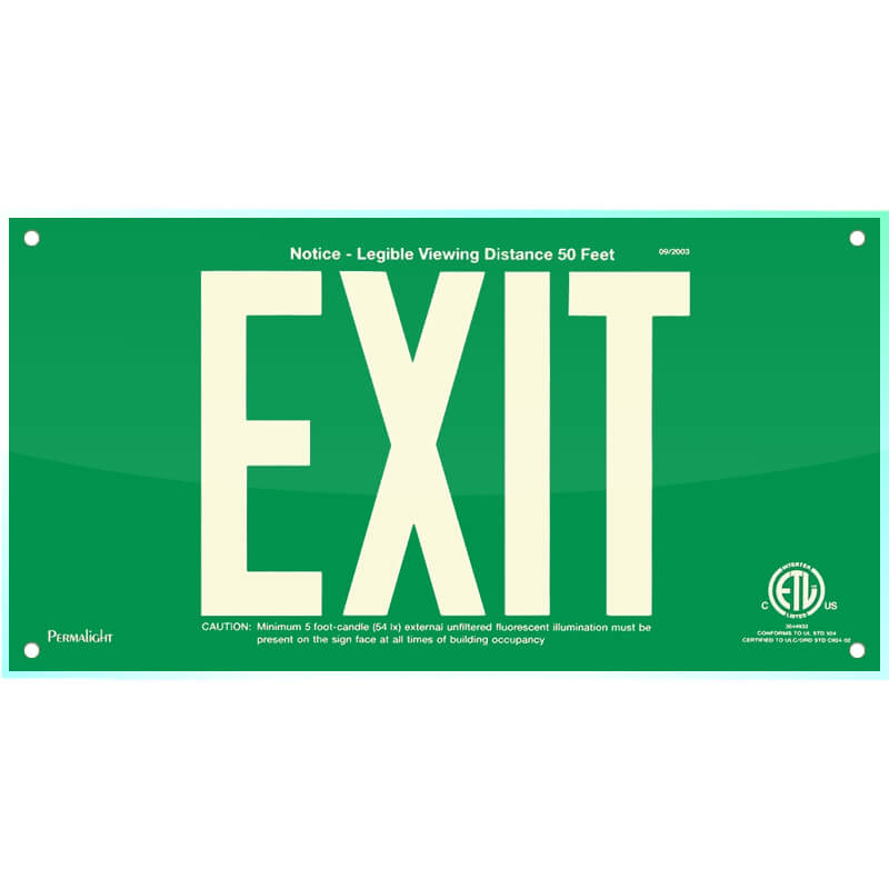 Green Acrylic EXIT Sign, 7 inch letters