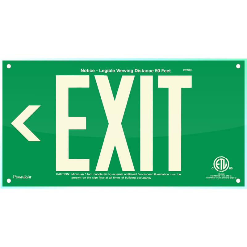Green Acrylic EXIT Sign (Arrow left), 7 inch letters