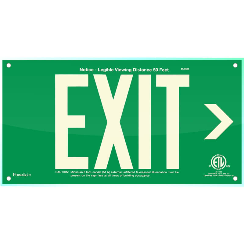 Green Acrylic EXIT Sign (Arrow right), 7 inch letters