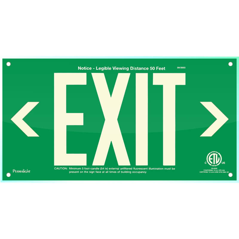 Green Acrylic EXIT Sign (left and right Arrows), 7 inch letters