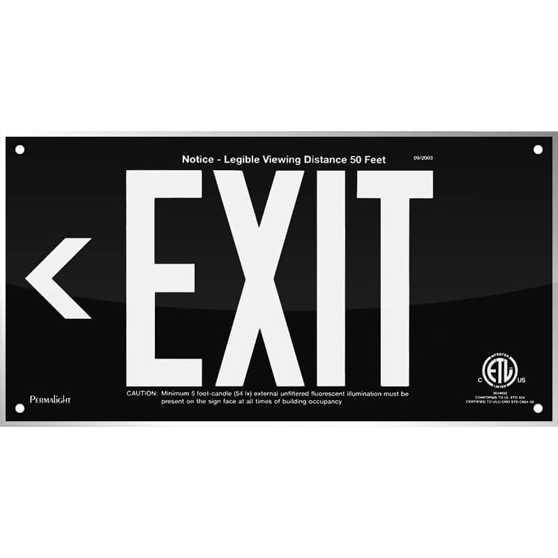 Black Acrylic EXIT Sign (Arrow left), 7 inch letters