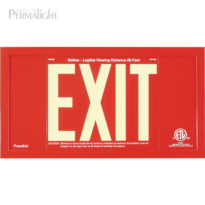 Red Aluminum EXIT Sign in red frame, 7 inch letters