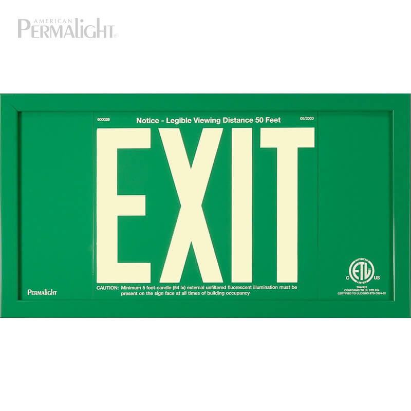Green Aluminum EXIT Sign in green frame, 7 inch letters