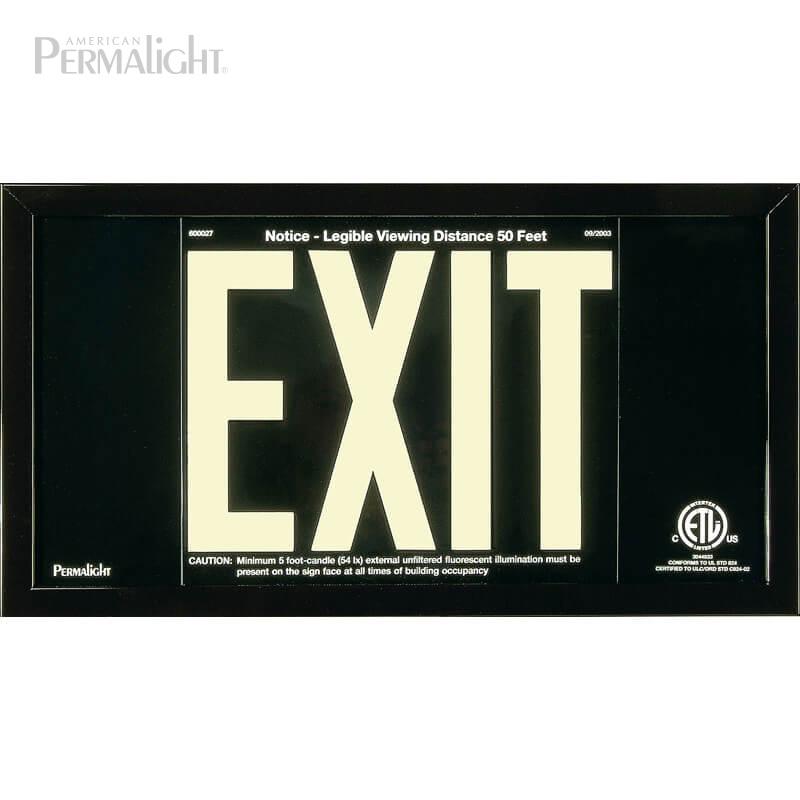 Black Aluminum EXIT Sign in black frame, 7 inch letters