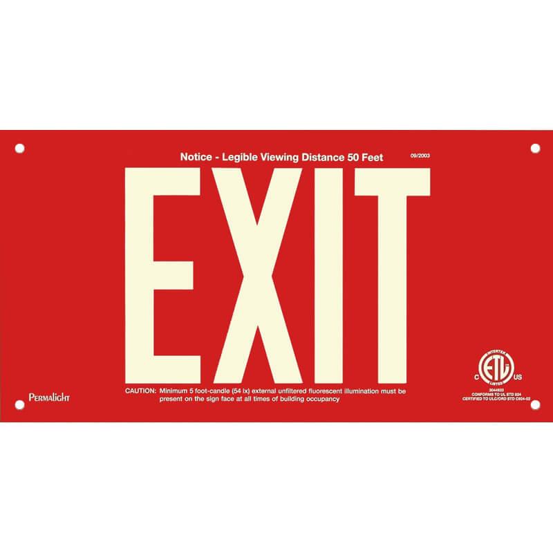 Red Aluminum Sign, EXIT, unframed