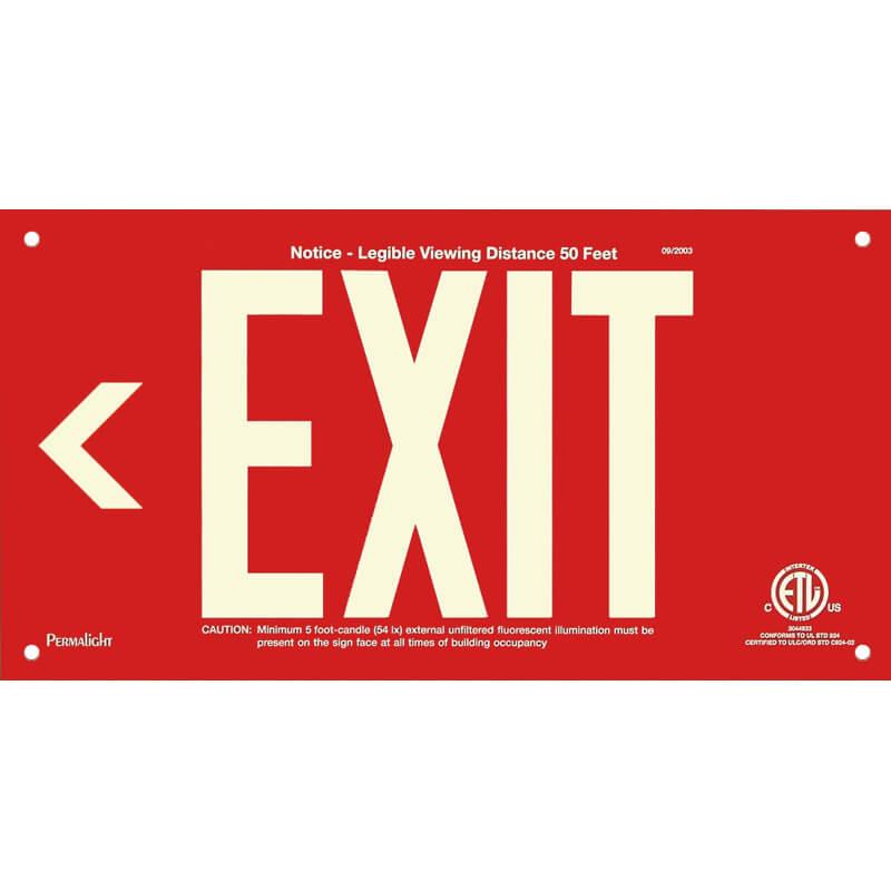 Red Aluminum Sign, EXIT (Arrow left), unframed