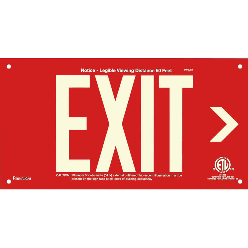 Red Aluminum Sign, EXIT (Arrow right), unframed