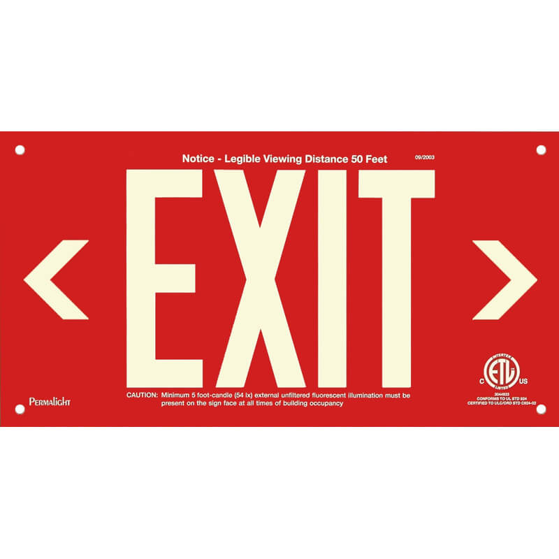Red Aluminum Sign, EXIT (left and right Arrows), unframed