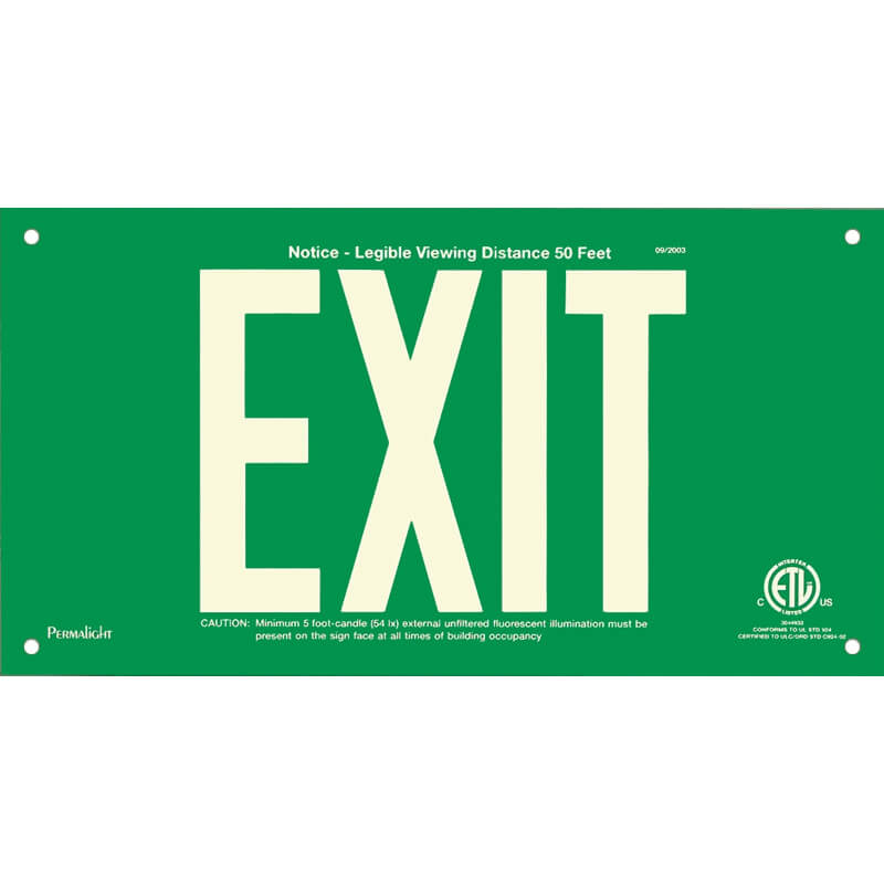 Green Aluminum Sign, EXIT, unframed