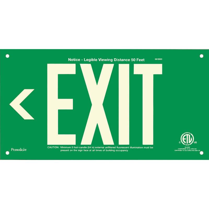 Green Aluminum Sign, EXIT (Arrow left), unframed