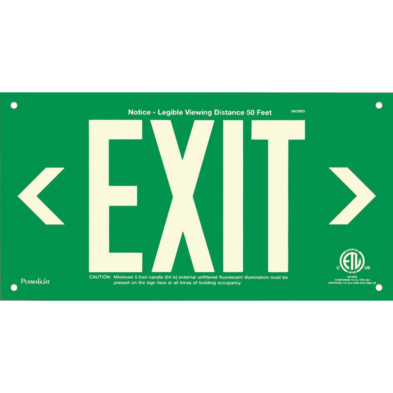 Green Aluminum Sign, EXIT (left and right Arrows), unframed