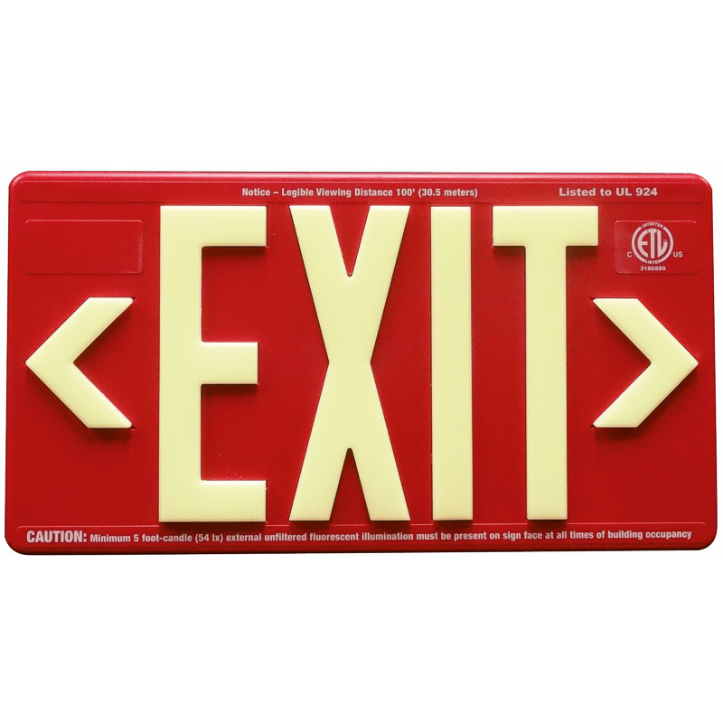 Red ABS Plastic Panel with photoluminescent letters, 2 directional chevrons