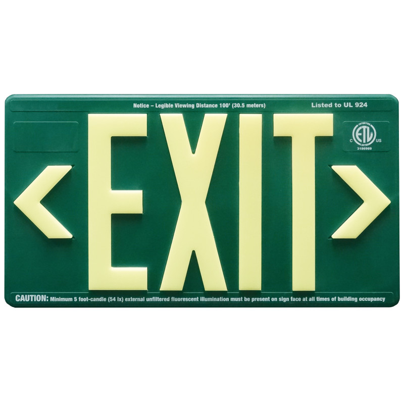 Green ABS Plastic Panel with photoluminescent letters, 2 directional chevrons